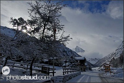 Winter landscape of the Swiss Alps, Wengen, Switzerland