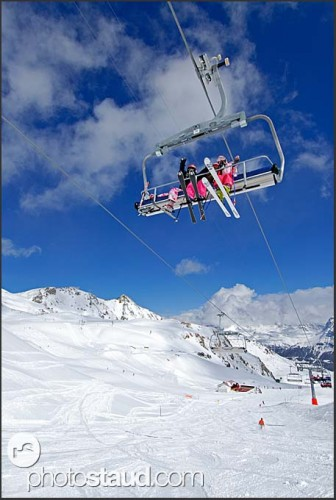 Ski resort in Grimentz, Swiss Alps, Switzerland