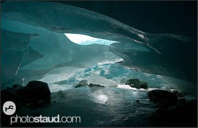 Under the ice of the Zinal Glacier, Switzerland