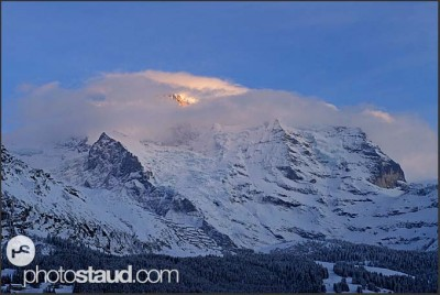 Mount Jungfrau in spotlight, winter landscape of Switzerland