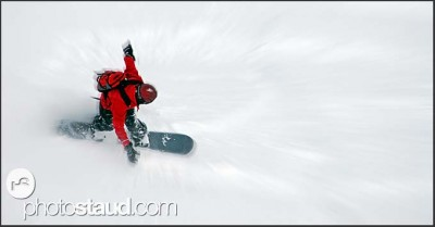 Free-rider on snowboard, Swiss Alps, Switzerland