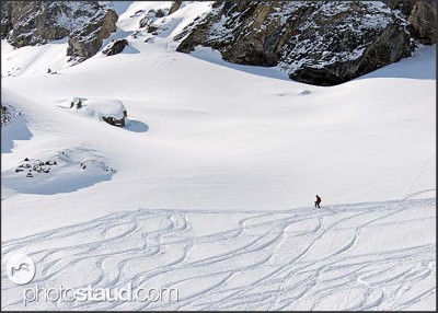 Ski free-rider in the Swiss Alps, Switzerland