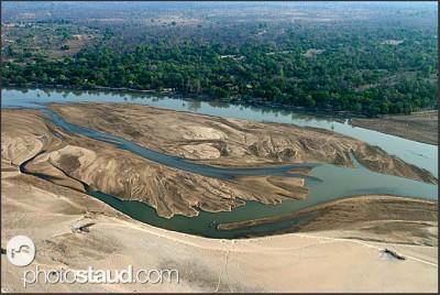Národní park Jižní Luangwa z letadla, Zambie