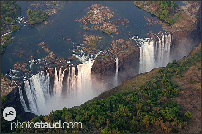 Aerial view of the Victoria Falls, Zambia