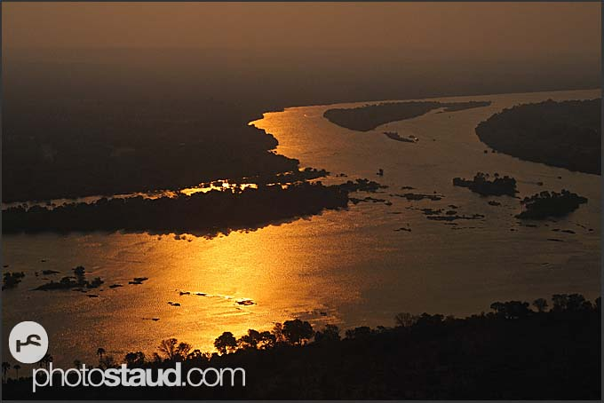 Aerial photograph of Zambezi River, Zambia