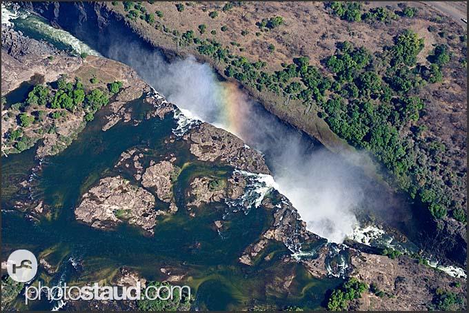 Rainbow over the Victoria Falls, aerial view, Zambia