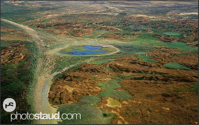 Animal paths leading to waterhole on the plains of Kafue National Park, aerial photograph, Zambia