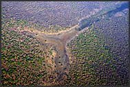 Shapes and colors in the Zambian landscape, aerial view, Zambia