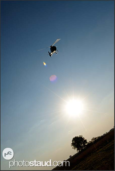 Helicopter taking off, Zambia