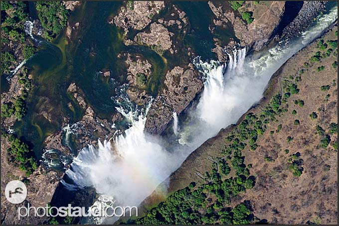 Looking down at the Victoria Falls, Zambia