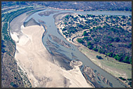 Luangwa River bending in the landscape of Zambia, aerial photograph, Zambia