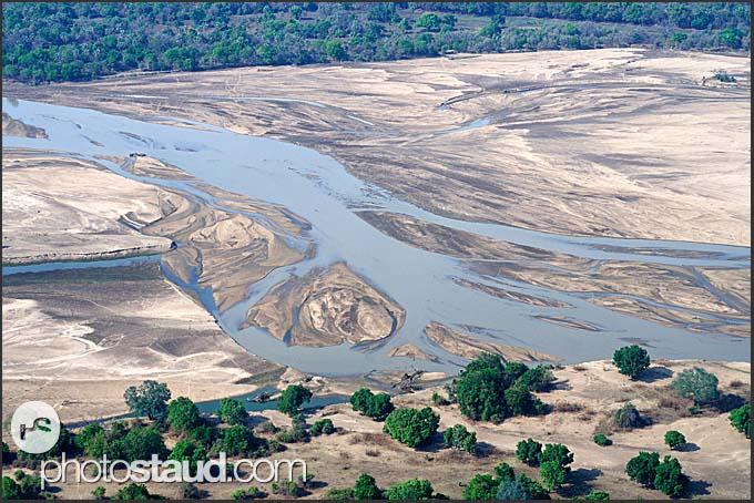 Luangwa River in the landscape of Zambia, aerial photograph, Zambia