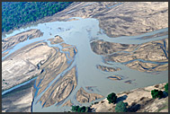 Luangwa River in the landscape of Zambia, aerial photograph, Zambia