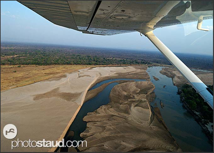 View of South Luangwa National Park landscape from airplane, Zambia