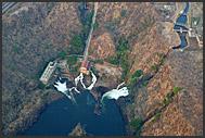 Aerial photograph of hydrostation on Zambezi River, Zambia
