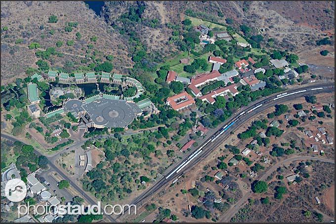 Aerial photograph of Royal Livingston and Zambezi Sun hotels, Zambia