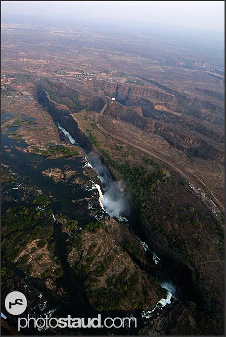 Aerial view of bends of Zambezi River, Zambia