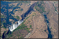 Aerial photograph of Zambezi River and Victoria Falls, Zambia