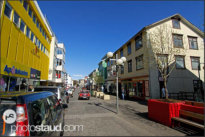 Ordinary street in Akureyri, Iceland
