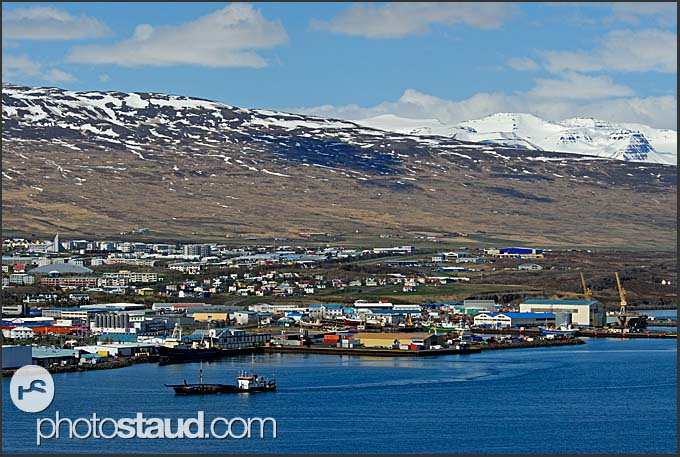 View of Akureyri town over Eyjafjordur fjord, Iceland