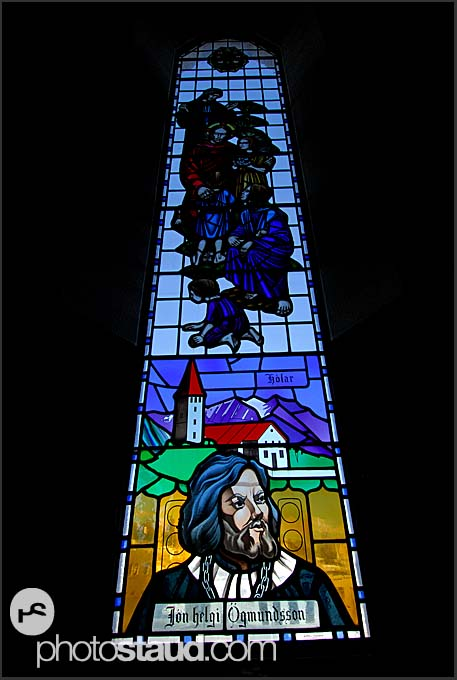 Stained glass window in Akureyrarkirkja cathedral, Akureyri, Iceland