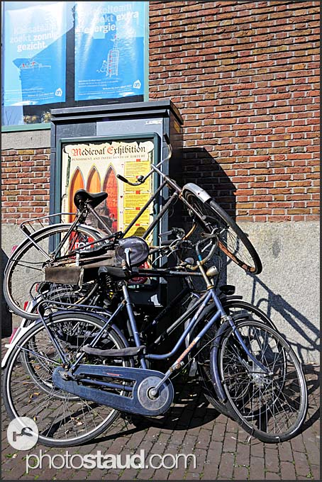 Derelict bikes in the streets of Amsterdam, Holland, The Netherlands, Europe