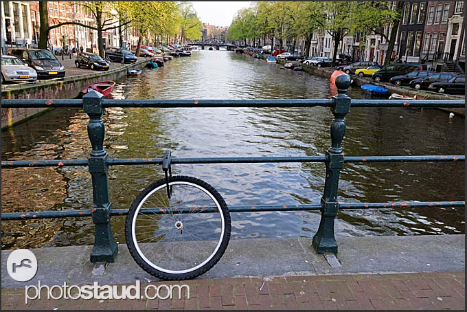 Front wheel of stolen bike on bridge, Amsterdam, Holland, The Netherlands, Europe