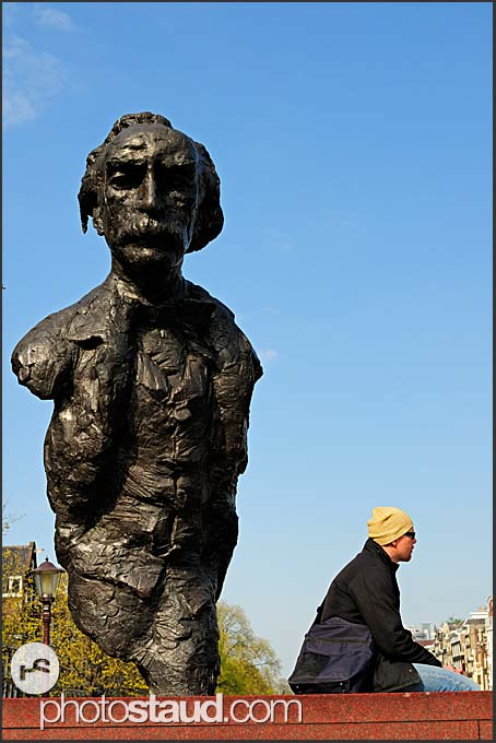Multatuli, Dutch writer, statue by the Singel canal, Amsterdam, Holland, The Netherlands, Europe