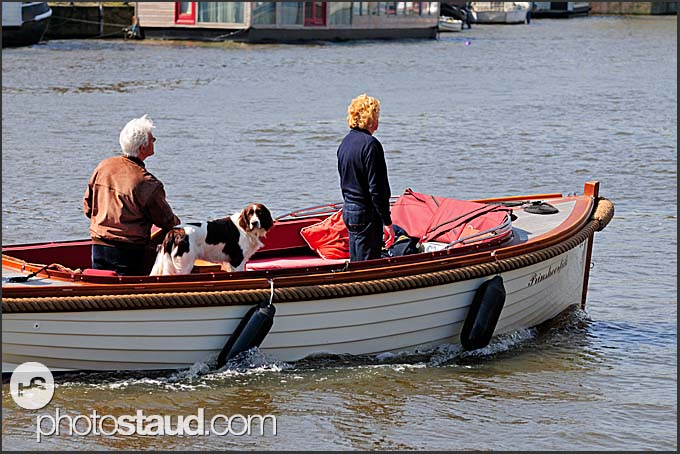Boat and dog on a canal, Amsterdam, Holland, The Netherlands, Europe