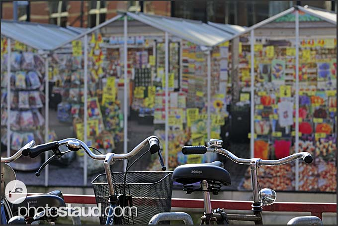 Bicycles parking in front of flower market, Amsterdam, Holland, The Netherlands, Europe