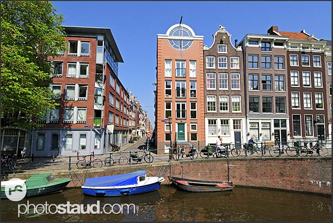 Canal Houses in Amsterdam, Holland, The Netherlands, Europe
