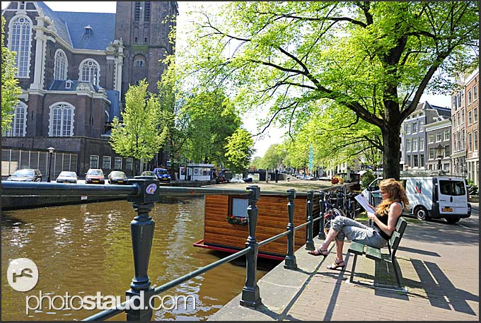 Relaxing at canal, Amsterdam, Holland, The Netherlands, Europe