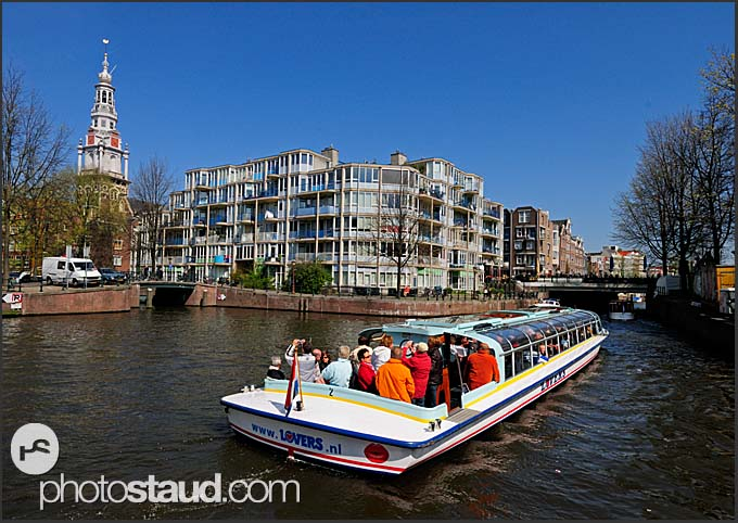 Tour boat on a canal, Amsterdam, Holland, The Netherlands, Europe