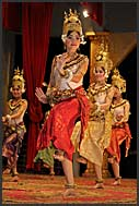 Traditional Khmer dancers performing Apsara dances in Kulen restaurant, Siem Reap, Cambodia