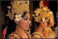 Traditional Khmer dancers performing Apsara dances in Kulen restaurant, Siem Reap, Cambodia
