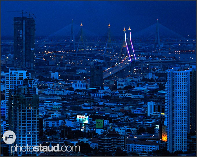 Night cityscape of Bangkok from above, Thailand
