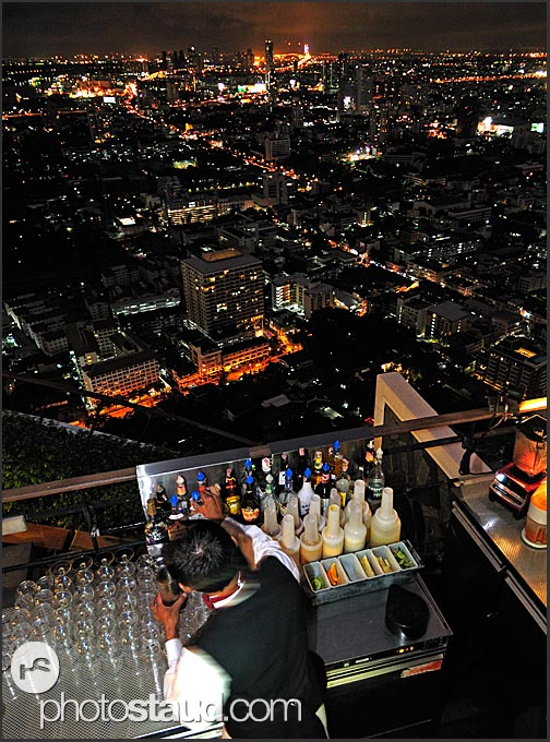 Night view of Bangkok city from a rooftop bar, Thailand