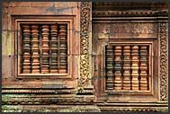 Detail of elaborate carvings in red sandstone, Banteay Srei Temple, Angkor, Cambodia