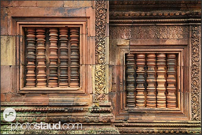 Two blind windows with stone columns, Banteay Srei Temple, Angkor, Cambodia