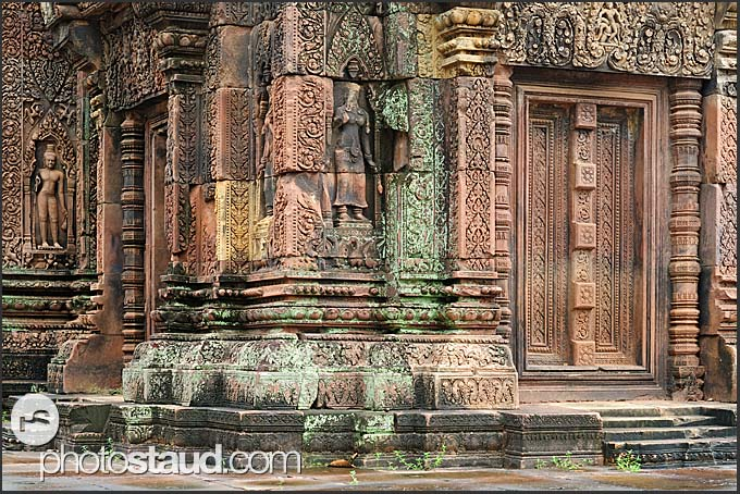 Citadel of Women, Banteay Srei Temple with intricate relief carvings, Angkor, Cambodia
