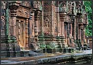 Detail of elaborate stone carvings, Banteay Srei Temple, Angkor, Cambodia