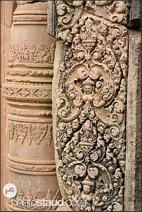 Detailed relief carvings on red sandstone, Banteay Srei Temple, Angkor, Cambodia