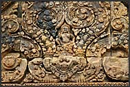 Elaborate carvings in red sandstone blind door, Banteay Srei Temple, Angkor, Cambodia