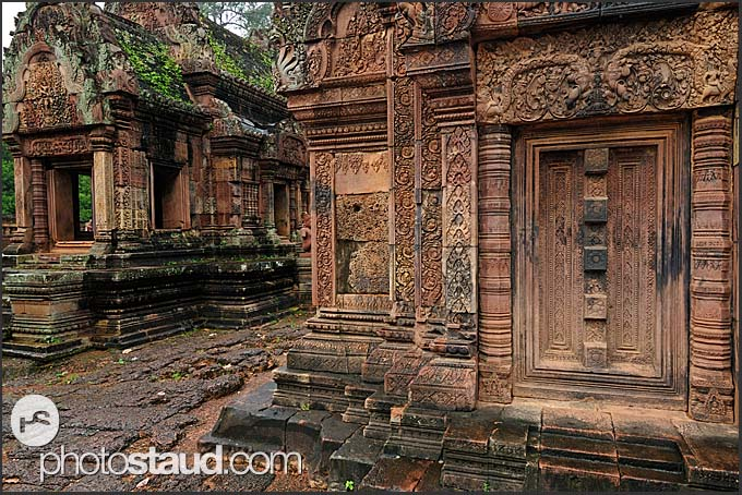 Carved walls and doors of Banteay Srei Temple, Citadel of women, Angkor, Cambodia
