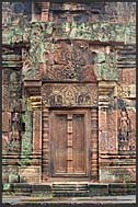 Elaborate relief carvings, Banteay Srei Temple, Angkor, Cambodia