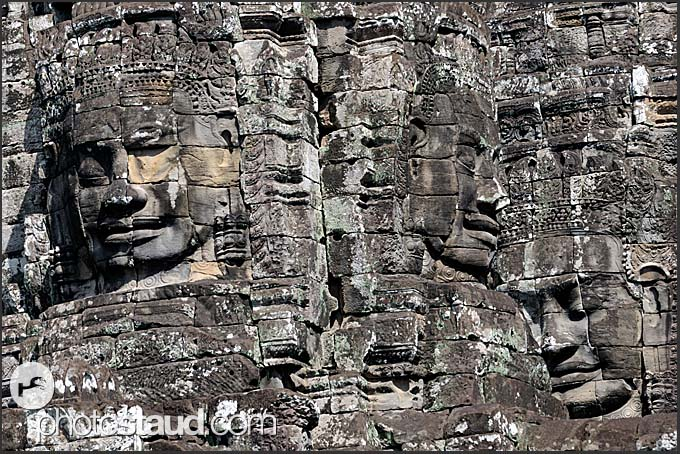 Stone faces of Lokeshvara at Bayon Temple of Angkor Thom, Cambodia
