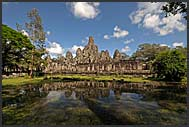 Bayon Temple reflected in water, Angkor Thom, Cambodia