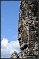 Giant carved stone face of Lokeshvara at Bayon Temple of Angkor Thom, Cambodia