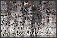 Stone carvings in the wall of Bayon Temple, Angkor Thom, Cambodia