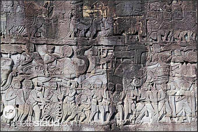 Stone carvings in the wall of bayon temple angkor thom